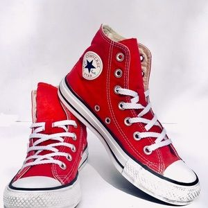 Classic red converse high tops, size 6